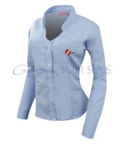 Camisa de mujer azul bordada