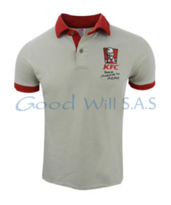Camiseta tipo polo bordada cuello y manga roja al por mayor