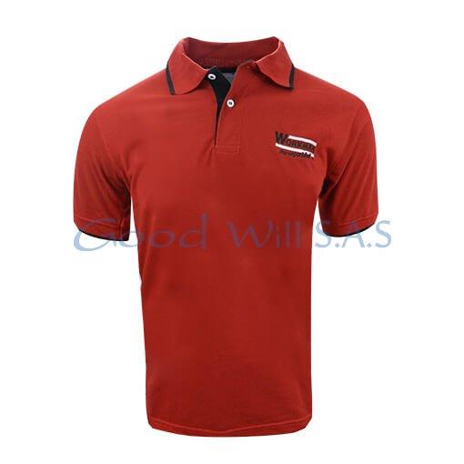 camiseta tipo polo roja bordada terminados en negro