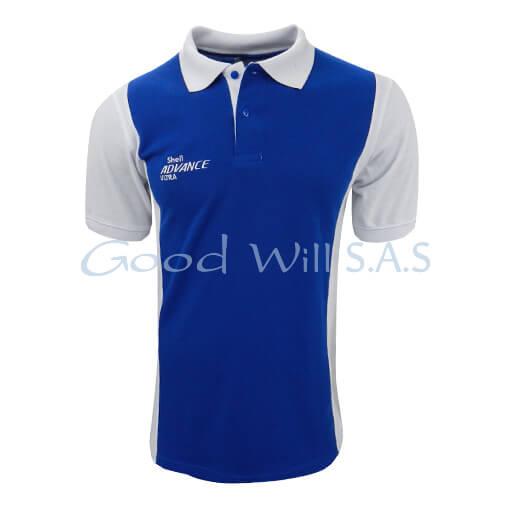 camisas tipo polo azul cuello blanco y banda lateral