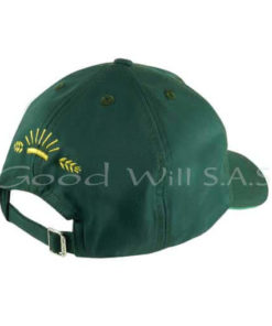 Gorra de dotación verde bordado posterior