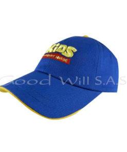 Gorra azul con franja en la visera estampada