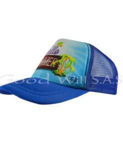 Gorra con malla azul
