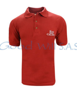 camiseta tipo polo roja bordada