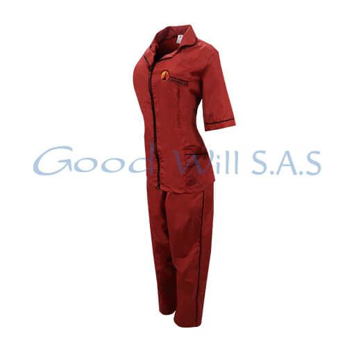 Dotación para mujer- uniforme de trabajo rojo.