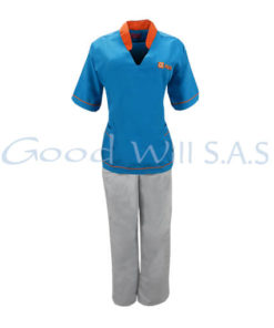 Uniforme de trabajo frontal azul pantalón blanco