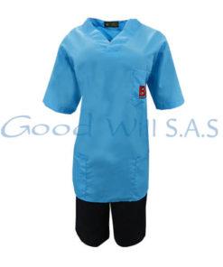 uniforme azul mujer manga corta y pantaloneta